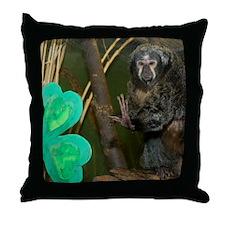 Monkey With Shamrock Throw Pillow