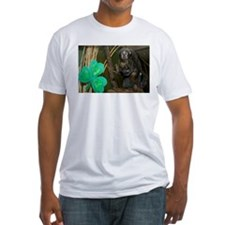 Monkey With Shamrock Fitted T-Shirt