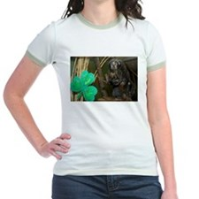 Monkey With Shamrock Jr. Ringer T-Shirt