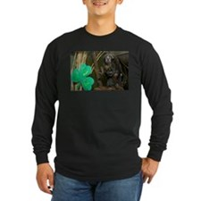 Monkey With Shamrock Long Sleeve Dark T-Shirt