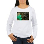 Monkey With Shamrock Women's Long Sleeve T-Shirt