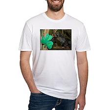 Monkey Grabbing Shamrock Fitted T-Shirt