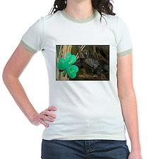 Monkey Grabbing Shamrock Jr. Ringer T-Shirt