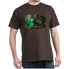 Monkey Grabbing Shamrock Dark T-Shirt