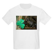 Monkey Grabbing Shamrock Kids Light T-Shirt