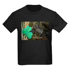 Monkey Grabbing Shamrock Kids Dark T-Shirt