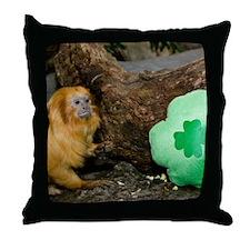 Golden Lion Tamarin Next To Shamrock Throw Pillow