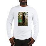 Red Ruffed Lemur with Shamrock Long Sleeve T-Shirt