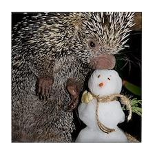 Porcupine With Snowman Tile Coaster