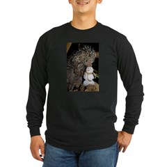 Porcupine With Snowman Long Sleeve Dark T-Shirt