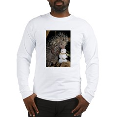 Porcupine With Snowman Long Sleeve T-Shirt