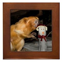 Golden Lion Tamarin With Snowman Framed Tile