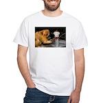 Golden Lion Tamarin With Snowman White T-Shirt