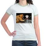Golden Lion Tamarin With Snowman Jr. Ringer T-Shir