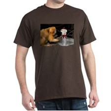 Golden Lion Tamarin With Snowman Dark T-Shirt