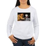 Golden Lion Tamarin With Snowman Women's Long Slee