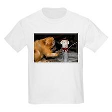 Golden Lion Tamarin With Snowman Kids Light T-Shir