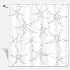 Dotty Gray Starfish. Shower Curtain