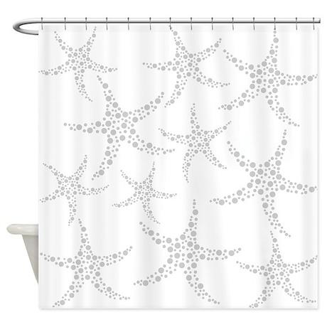 Dotty Gray Starfish. Shower Curtain