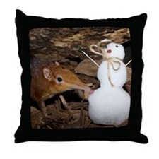 Elephant Shrew with Snowman Throw Pillow