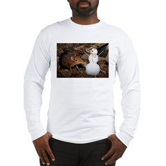 Elephant Shrew with Snowman Long Sleeve T-Shirt