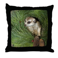 Meerkat In Wreath Throw Pillow