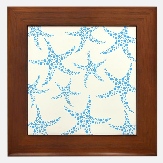 Blue Dotty Starfish Pattern. Framed Tile
