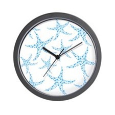 Blue Dotty Starfish Pattern. Wall Clock