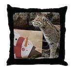 Ocelot with Snowman Bag Throw Pillow