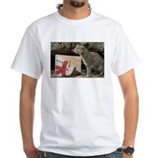 Ocelot with Snowman Bag White T-Shirt