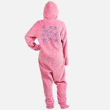 Aqua Dotty Starfish Pattern. Footed Pajamas