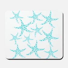 Aqua Dotty Starfish Pattern. Mousepad