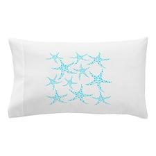 Aqua Dotty Starfish Pattern. Pillow Case