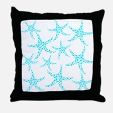Aqua Dotty Starfish Pattern. Throw Pillow