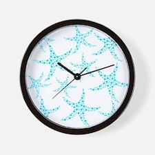 Aqua Dotty Starfish Pattern. Wall Clock