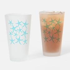 Aqua Dotty Starfish Pattern. Drinking Glass