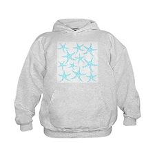 Aqua Dotty Starfish Pattern. Hoodie