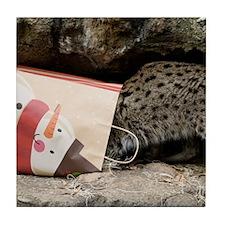 Ocelot in Snowman Bag Tile Coaster