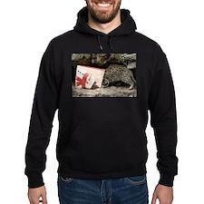 Ocelot in Snowman Bag Hoodie (dark)