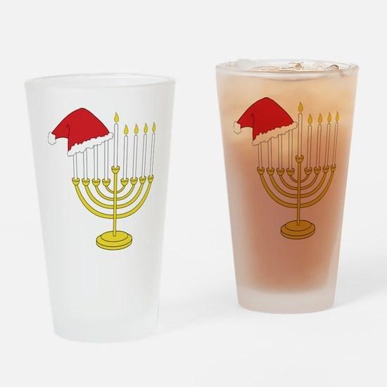 Hanukkah And Christmas Drinking Glass