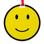 Happy Face Smiley Round Ornament