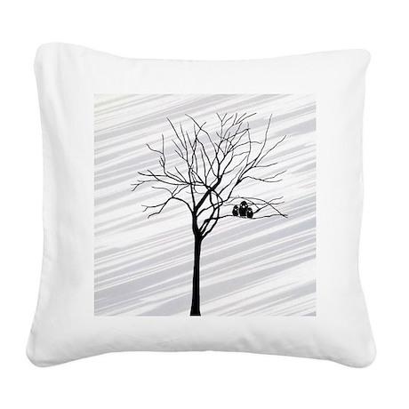 Winter Tree White Square Canvas Pillow by navemastudios