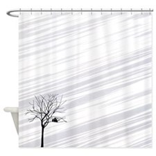 Winter Tree White Shower Curtain