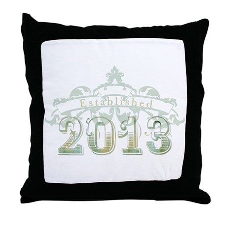 Established 2013 Throw Pillow