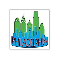 "Philly Skyline Newwave Primary Square Sticker 3"" x"