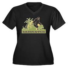 Sasquatch Women's Plus Size V-Neck Dark T-Shirt
