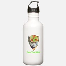 Colorful Monkey. Custom Text. Water Bottle