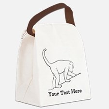 Monkey with Custom Text. Canvas Lunch Bag