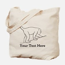 Monkey with Custom Text. Tote Bag