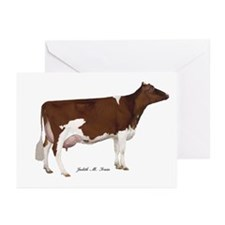 Red and White Holstein Cow Greeting Cards (Pk of 2